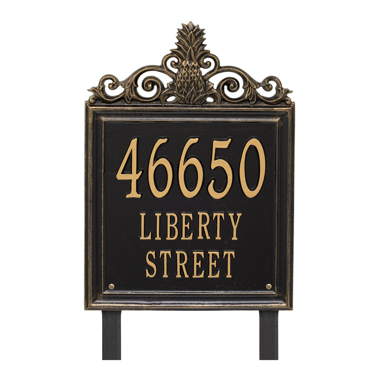 "Custom Lanai Pineapple Estate LAWN Address Plaque 19""H (3 Lines)"