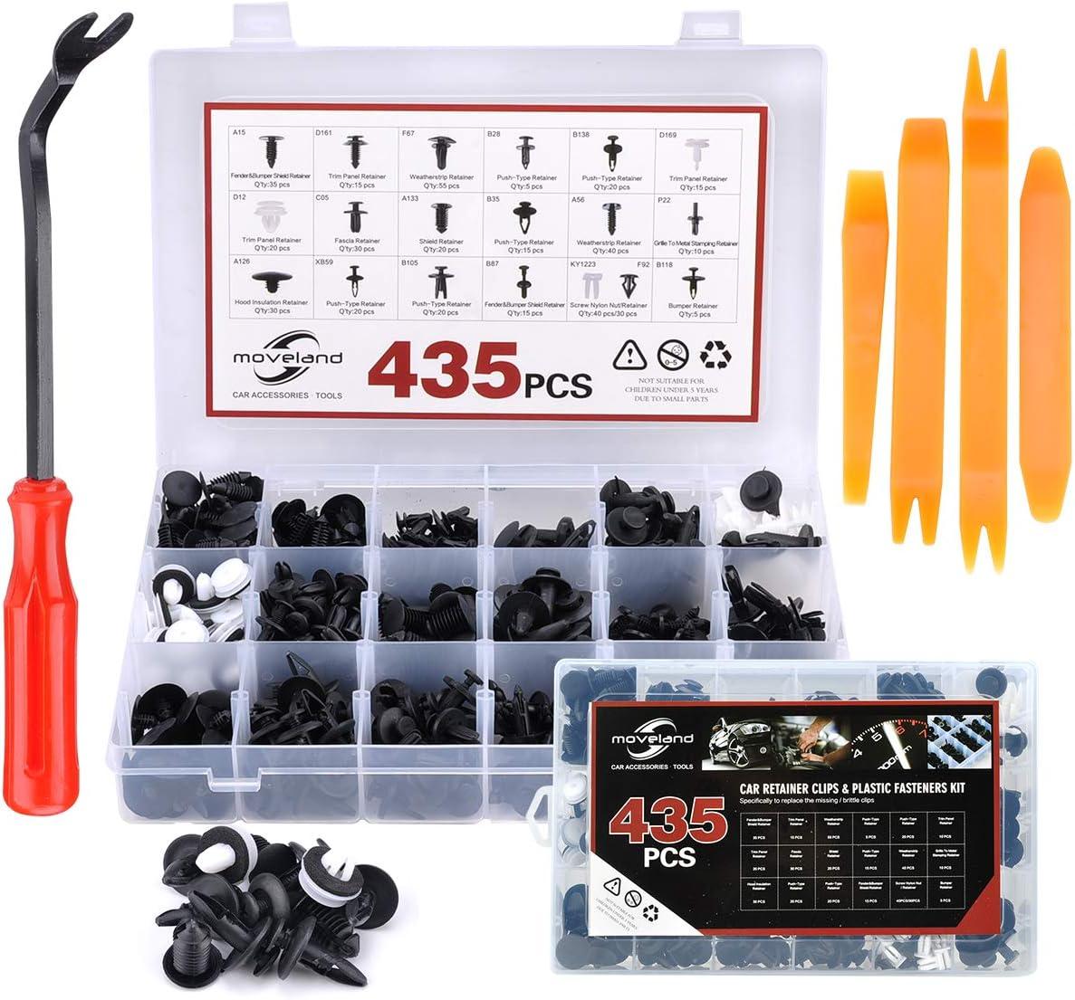 435PCS Bumper Car Retainer Clips & Plastic Fasteners Kit, Auto Push Pin Rivets Set for GM Ford Toyota Honda Chrysler Nissan