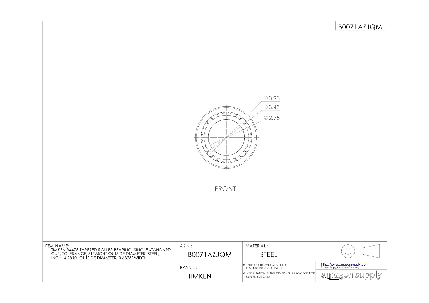 SINGLE CUP TIMKEN 354B TAPERED ROLLER BEARING FLANGED O... STANDARD TOLERANCE