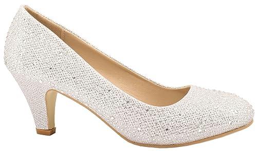 Elara Damen Pumps | Bequeme Strass High Heels | Hochzeits Glitzer Stiletto