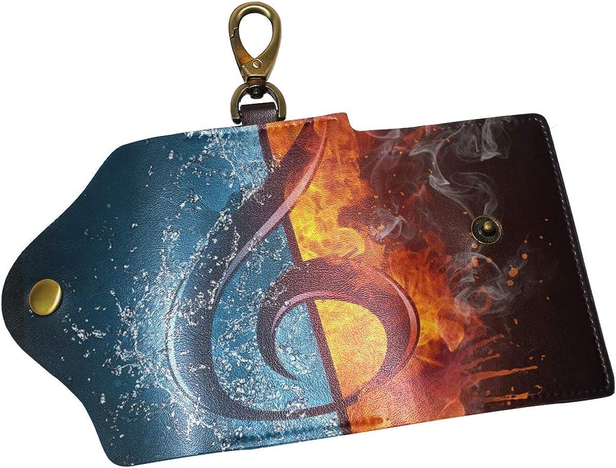 KEAKIA Treble Clef Leather Key Case Wallets Tri-fold Key Holder Keychains with 6 Hooks 2 Slot Snap Closure for Men Women