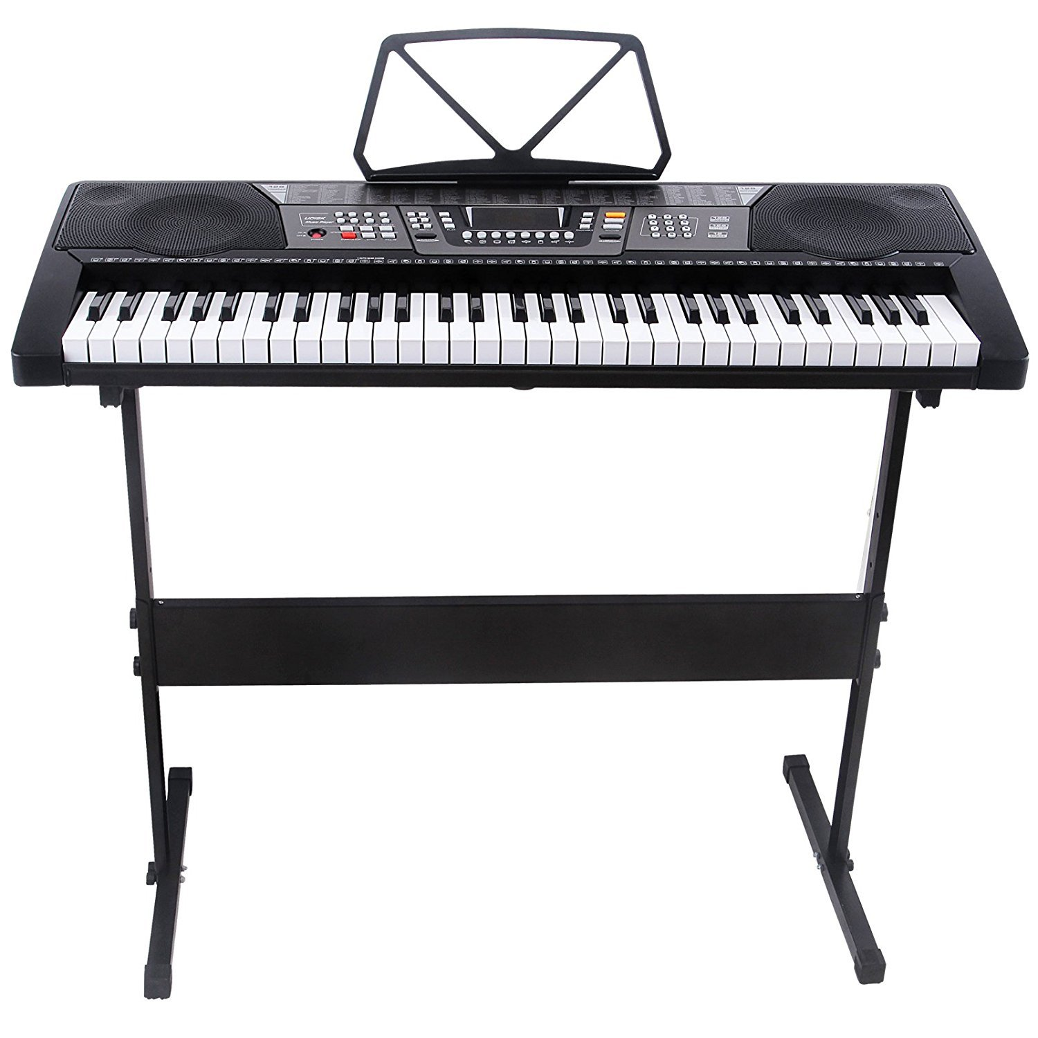 LAGRIMA 61 Key Digital Music Piano Keyboard Portable with with LED Display, USB MP3 Input and H Stand for Beginners