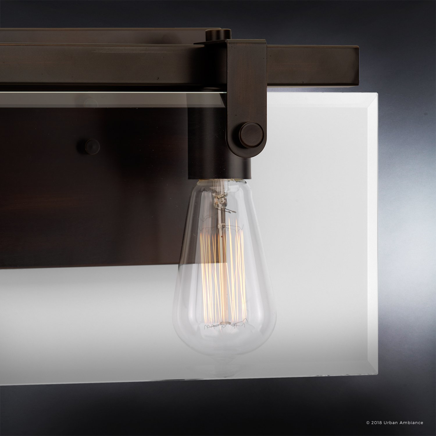 Luxury Modern Farmhouse Bathroom Vanity Light, Medium Size: 8.38'' H x 14.875'' W, with Industrial Chic Style Elements, Olde Bronze Finish, UHP2452 from The Bristol Collection by Urban Ambiance by Urban Ambiance (Image #4)