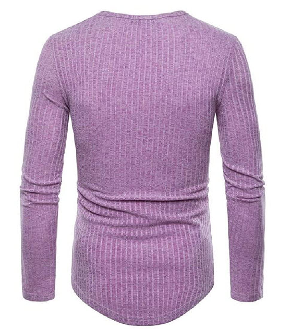 Vska Mens Pullover Casual Long Sleeve Knitted Solid Scoop Neck Down Tops