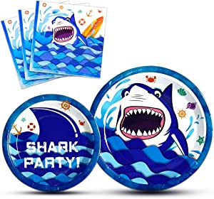 WERNNSAI Shark Party Supplies - Blue Ocean Shark Tableware Set for Boys Birthday Baby Shower Pool Party Dinner Dessert Plates and Napkins Serves 16 Guests 48 Pieces