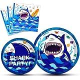 WERNNSAI Shark Party Supplies - Blue Ocean Shark Tableware Set for Boys Birthday Baby Shower Pool Party Dinner Dessert Plates