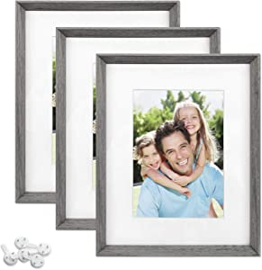 Sindcom 8x10 Picture Frame with High Definition Glass Face, Display Pictures 5x7 with Mat or 8x10 Without Mat, Rustic Photo Frames Collage for Wall or Tabletop Display,Set of 3,Light Grey