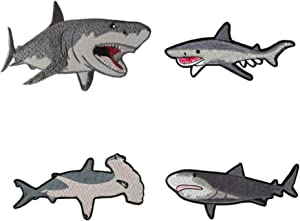 Shark 4-Pack Embroidered Patch DIY Iron-on or Sew-on Decorative Badge Emblem Vacation Souvenir Travel Gear Clothes Appliques Meg Great White Sharks Dolphins Whales Ocean Life Explore Series Jaws