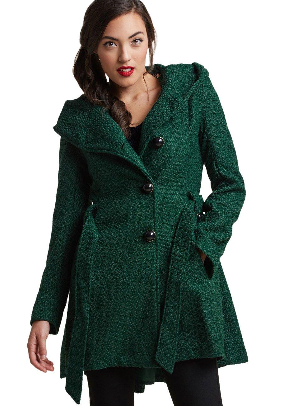 Sportoli Womens Single Breasted Wool Blend Belted Winter Dress Drama Coat with Hood - Green (Size Medium)