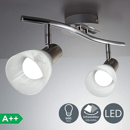 Lámpara LED de techo I Focos giratorios I Lámpara de techo con 2 bombillas E14 I Orientable I Habitación I Níquel mate I Color de la luz blanco cálido ...