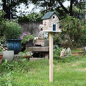 Outdoor Bird Feeder, Stone Castle Courtyard - Outdoor Land Nest - Bird House - Breeder - Garden Gardening Decorative Garden Landscape