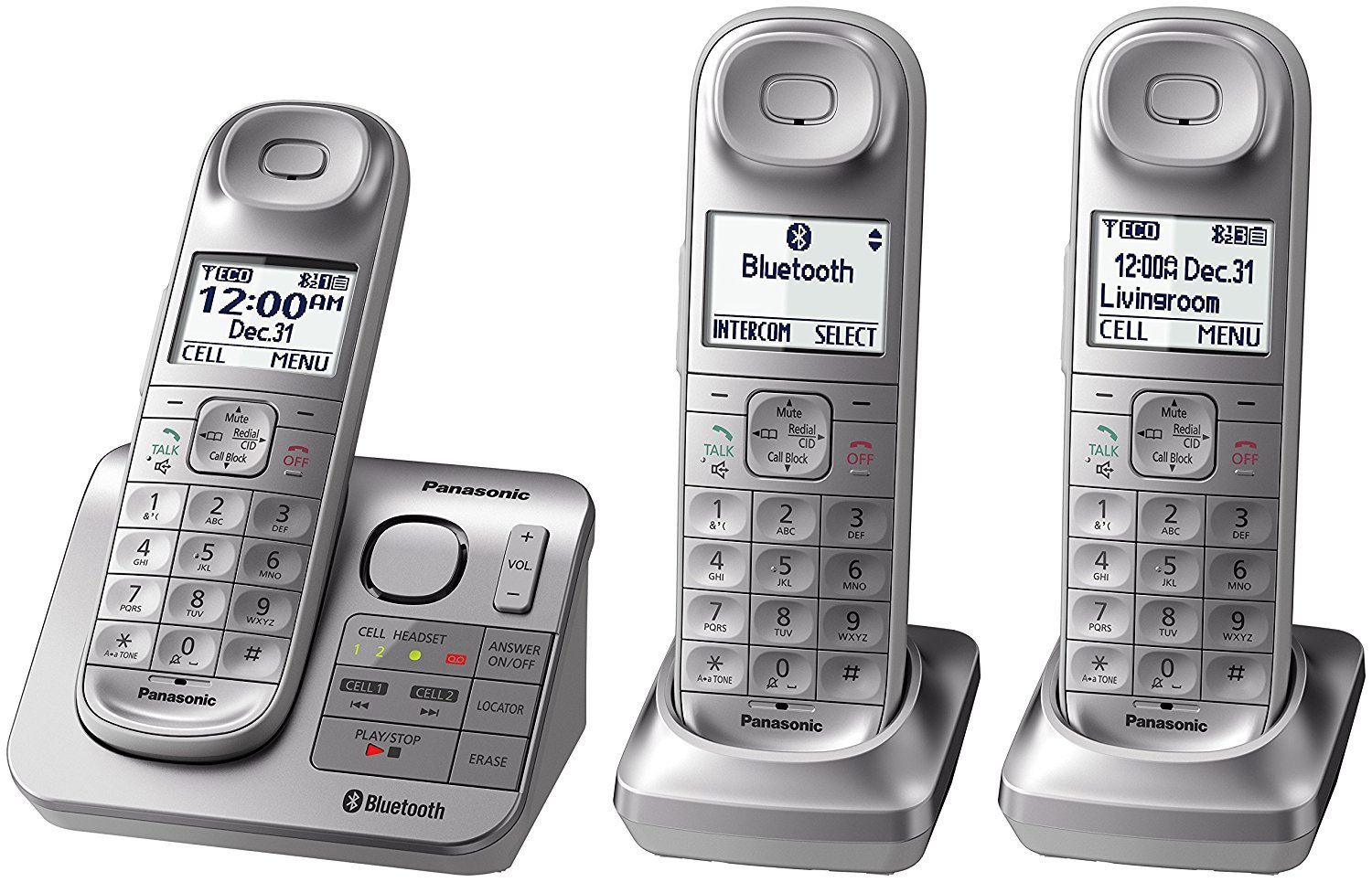 Panasonic KX-TGL463S Dect 6.0 link2Cell Bluetooth 3-Handset Landline Telephone, Silver & White (Renewed)