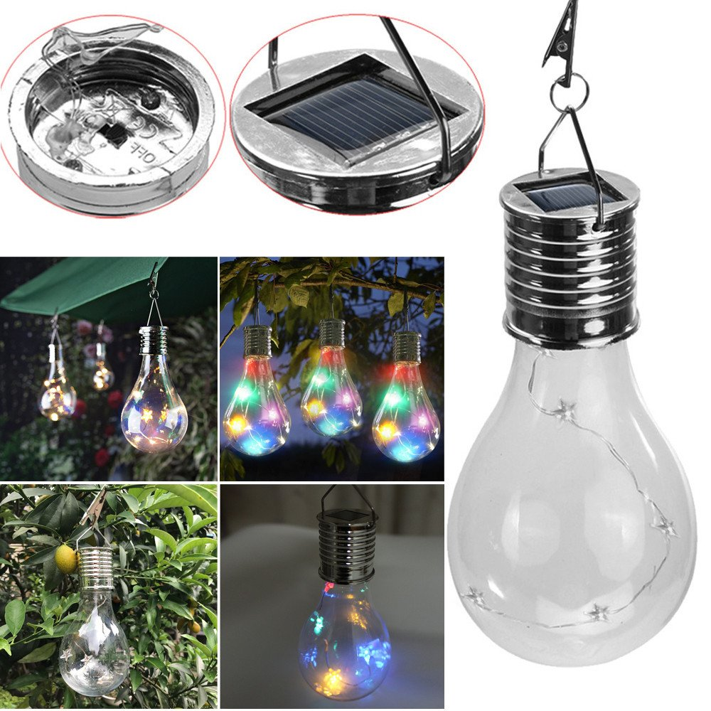 Hstore Solar Light Waterproof Rotatable Pentagram Light line Neon Lamp LED Light Lamp Bulb Solar Power Lamp for Outdoor Garden Camping Hanging (Clear) by Hstore (Image #5)