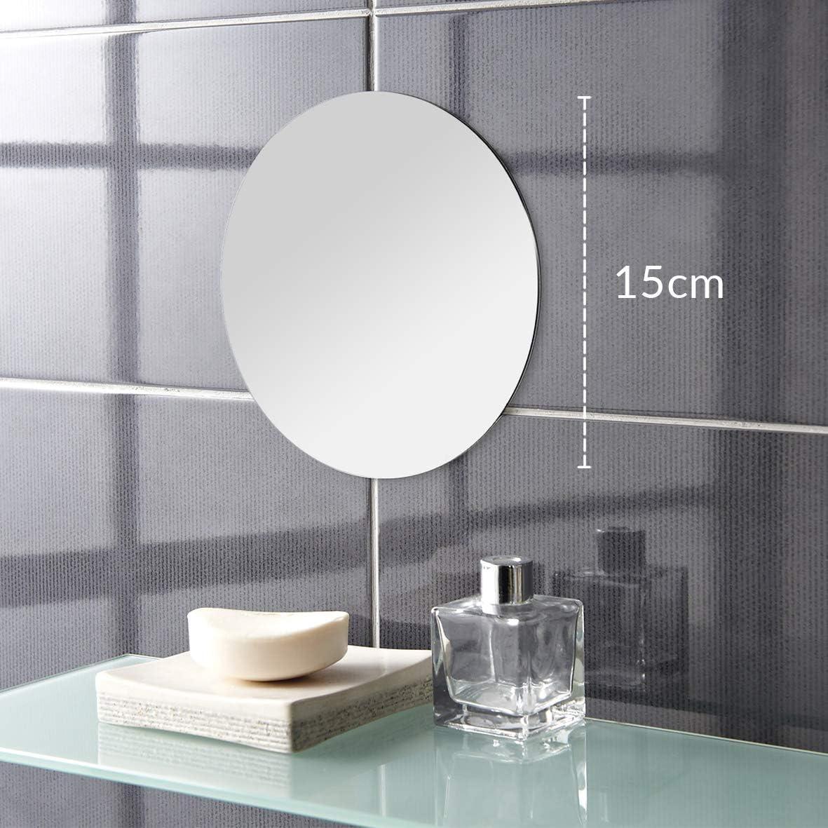 Badspiegel Wandspiegel Dekospiegel Rund Glas Spiegelfliese Set 8-tlg