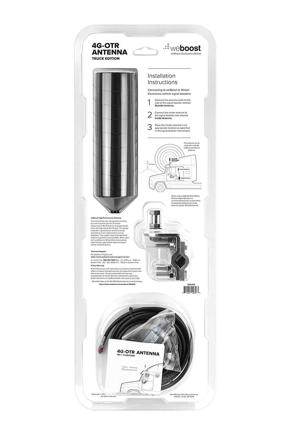 Wilson Electronics 19-inch 4G Truck and RV Spring-Mount Antenna w/ 14 ft  RG58 cable, SMA Male Connector