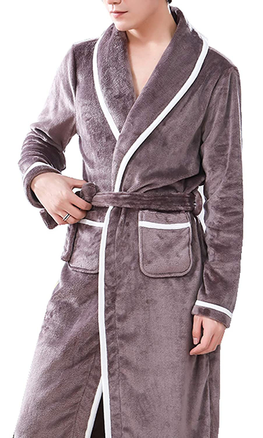 YVWTUC Mens Fleece Bathrobe Flannel Winter Thickening Pajamas Long Sleeves Robe