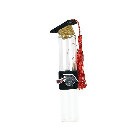 takestop® Set 36 BOMBONIERA BOMBONIERE ampolla Laurea 2x9CM in Vetro Tappo  Sughero con Cappello Nero 7990478ec00d