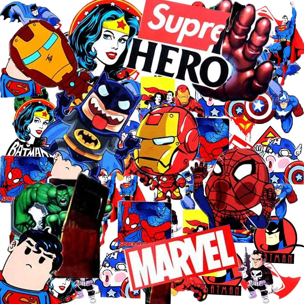 100 Pcs Waterproof Vinyl Superhero Avengers Stickers and Decals for Laptop, Luggage, Skateboard, Water Bottles, Bicycle, Guitar, Phone,Trendy Aesthetic for Kids, Teens