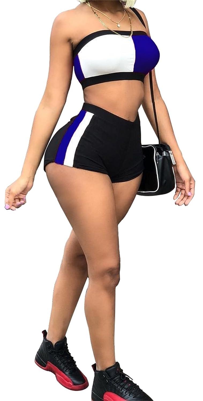 73e9195a74 Molisry Women's 2 Piece Outfits Color Block Off Shoulder Crop Top  Tracksuits Short Pants Set: Amazon.co.uk: Clothing