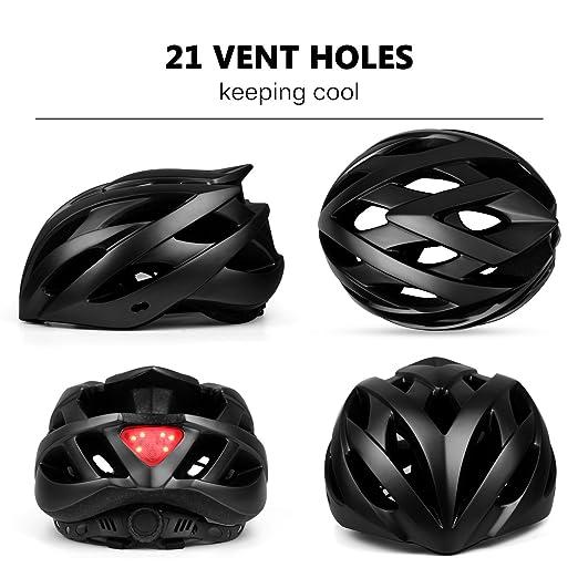ANGINSTAR Bike Helmet, CPSC Safety Standard Cycling Helmet with Detachable Visor&LED Safety Light for Adult Men&Women