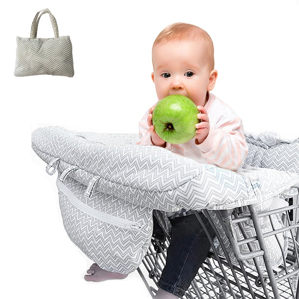 2-in-1 Shopping Cart Cover Mat and High Chair Cover for Baby,Foldable As Bag/Yinuoday Universal Grocery Trolley Cover Cushion Mat with Phone Holder Pocket & Storage Pocket