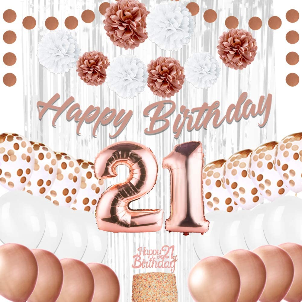 EpiqueOne Rose Gold 21st Birthday Decorations - 41 Pieces Party Decor for Her - Rose Gold Ribbon, Balloons, Pom Poms - 21 Birthday Cake Topper