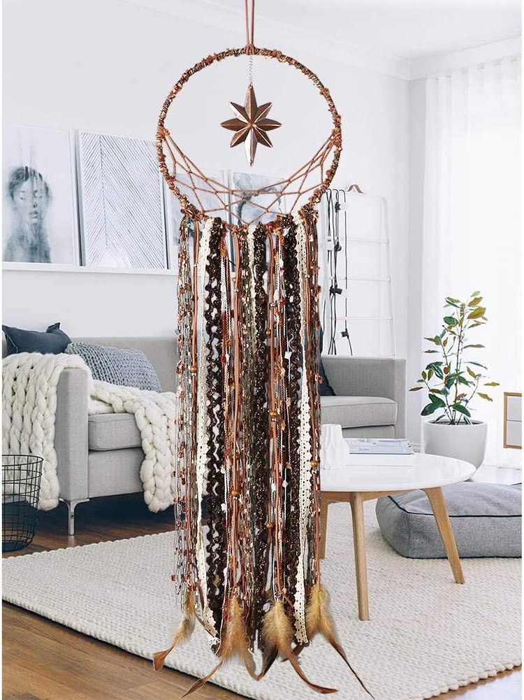 Alynsehom Dream Catcher Moon and Octagonal Star Handmade Feather Dream Catchers for Kids Bedroom Bohemian Boho Decor Wall Hanging Ornament Dorm Decoration Craft Gift (Brown)