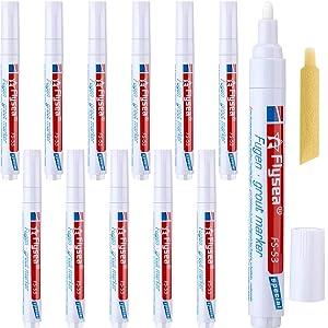Outus 12 Pieces Grout Tile Pen Rejuvenate Grout Restorer Pen Renew Repair Marker for Tile Wall Floor (White)