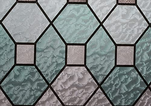 Hosho Geometric Stained Glass Decorative Non-Adhesive Privacy Window Film 3 FT x 7 FT