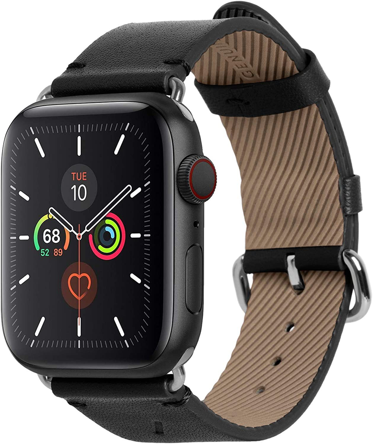 Native Union Classic Strap for Apple Watch 42/44mm – Genuine Italian Nappa Leather – Stainless Steel Hardware with Soft Nubuck Leather Backing (Black)