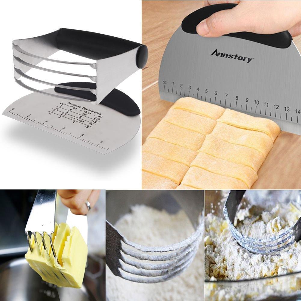 Annstory- acero inoxidable raspador de pastelería y de la pasta Blender Juego de moldes - Profesional Masa Blender con Blades, Multi Propósito Banco ...