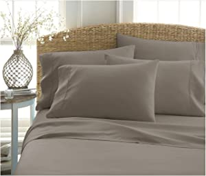Becky Cameron ienjoy Home 6 Piece Double Brushed Microfiber Bed Sheet Set, Queen, Taupe