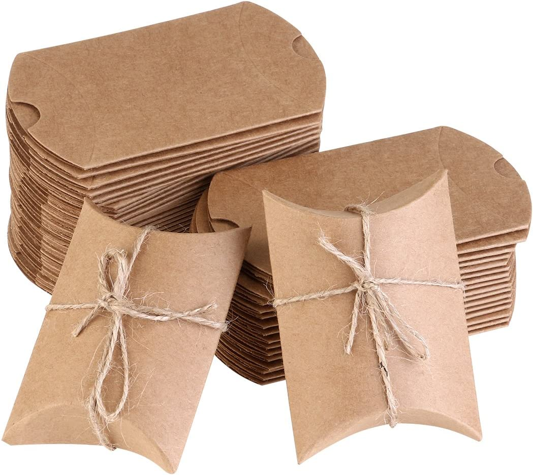 NUOLUX Kraft Vintage Boxes Brown Shabby Rústico Wrapping Gift Candy Boxes con la boda de la cuerda Favor Pack de 50