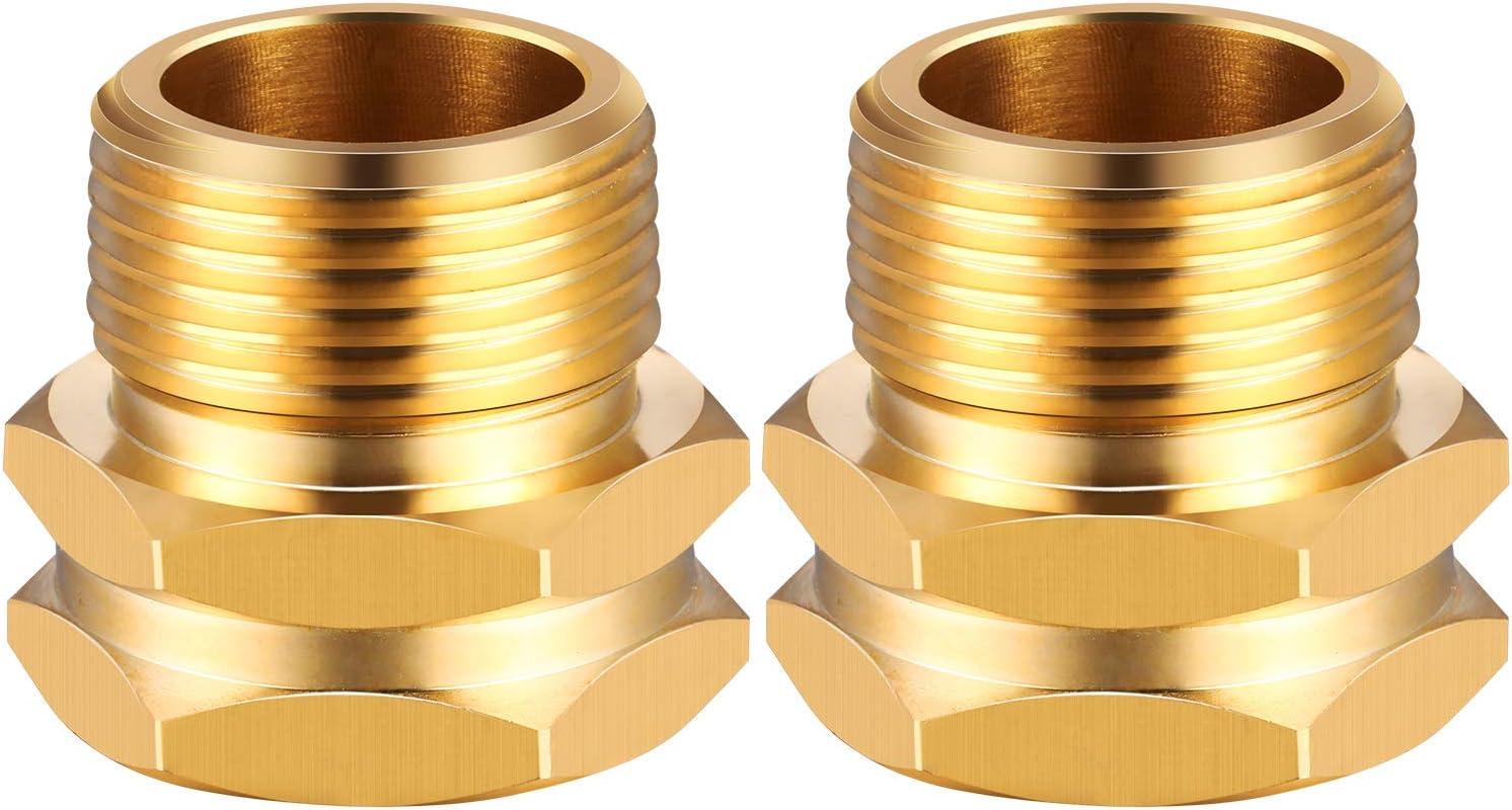 2 Pieces Brass Garden Hose Connector Adapter 3/4 Inch GHT Female x 3/4 Inch NPT Male Connector Adapter Fitting