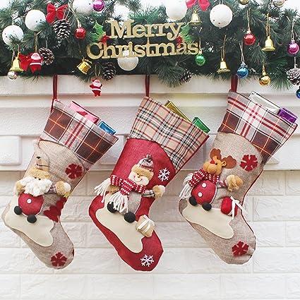 Fmeida- Juego de calcetines clásicos de regalo de Navidad para decoración del hogar, Papá