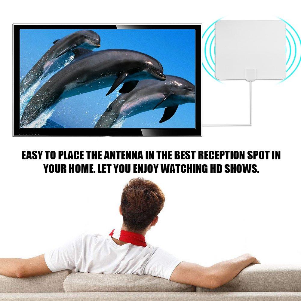 Zerone Antena TV 50/Miglia DB Antena de TV amplificada para Interior Mueble HDTV Ultrafina con Amplificador de se/ñal Digital