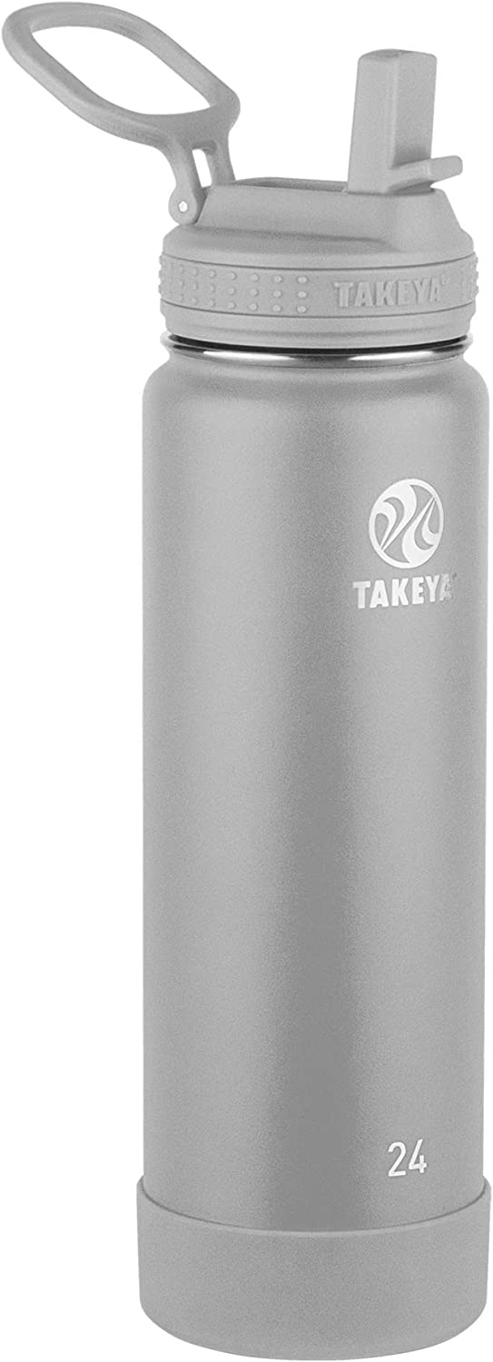 Takeya Actives Insulated Water Bottle w/Straw Lid, Pebble, 24 Ounce