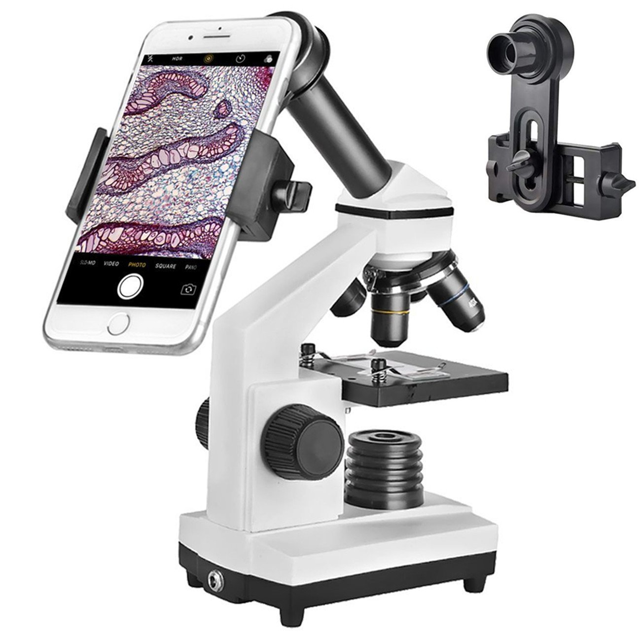 Student Microscope 40X-1000X Optical Glass Lens All-Metal LED Biological Compound Monocular Microscope with 16X Eyepiece Cellphone Digiscoping Adapter for Capturing the Micro World in the Screen by SOLOMARK