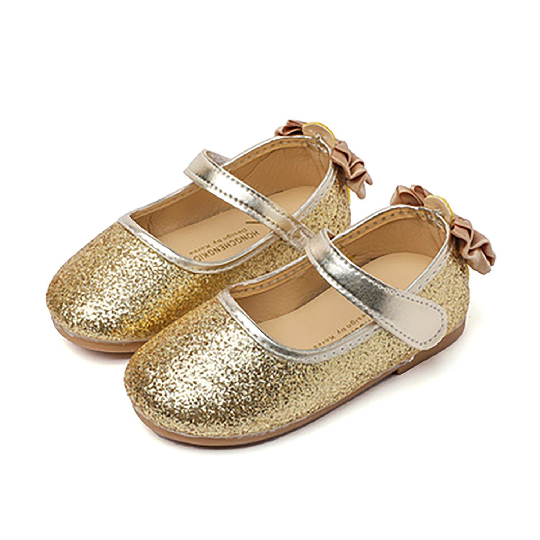 UBELLA Glitter Bow Kids Toddler Girl's Ballet Flats Princess Bridesmaid Wedding Party Shoes Mary Janes