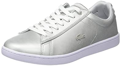 4036eb50e Lacoste Carnaby Evo Silver White Leather Womens Trainers  Amazon.co ...