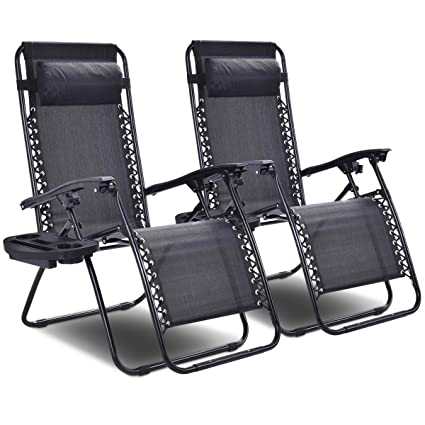 Tremendous Goplus Zero Gravity Chairs Lounge Patio Folding Recliner Outdoor Yard Beach With Cup Holder Black 2 Piece Inzonedesignstudio Interior Chair Design Inzonedesignstudiocom