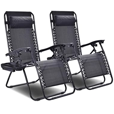 Goplus 2PC Zero Gravity Chairs Lounge Patio Folding Recliner Outdoor Yard Beach with Cup Holder (Black)