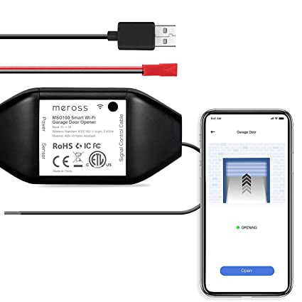 Smart Garage Door Opener Remote, APP Control, Compatible with Alexa and  Google Assistant, Multiple Notification Modes, No Hub Needed by meross -  Black