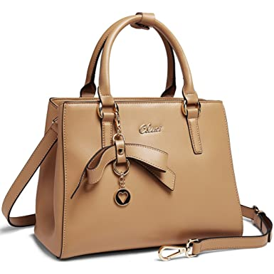 7a5c1a7988a93 Amazon.com: Cluci Leather Designer Handbags Tote Satchel Shoulder Bag Purse  for Women Apricot: Clothing