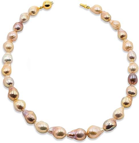 Collar de Perlas de Mujer Cultivadas de Agua Dulce Barrocas Grandes Multiculor Natural