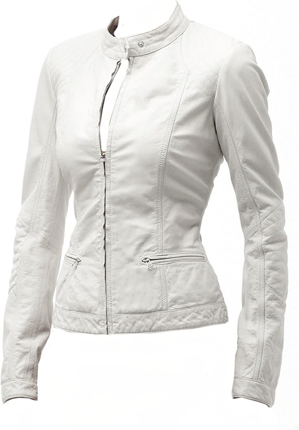 White Sky Xs 4xl Classyak Women Fashion Genuine Leather Jacket