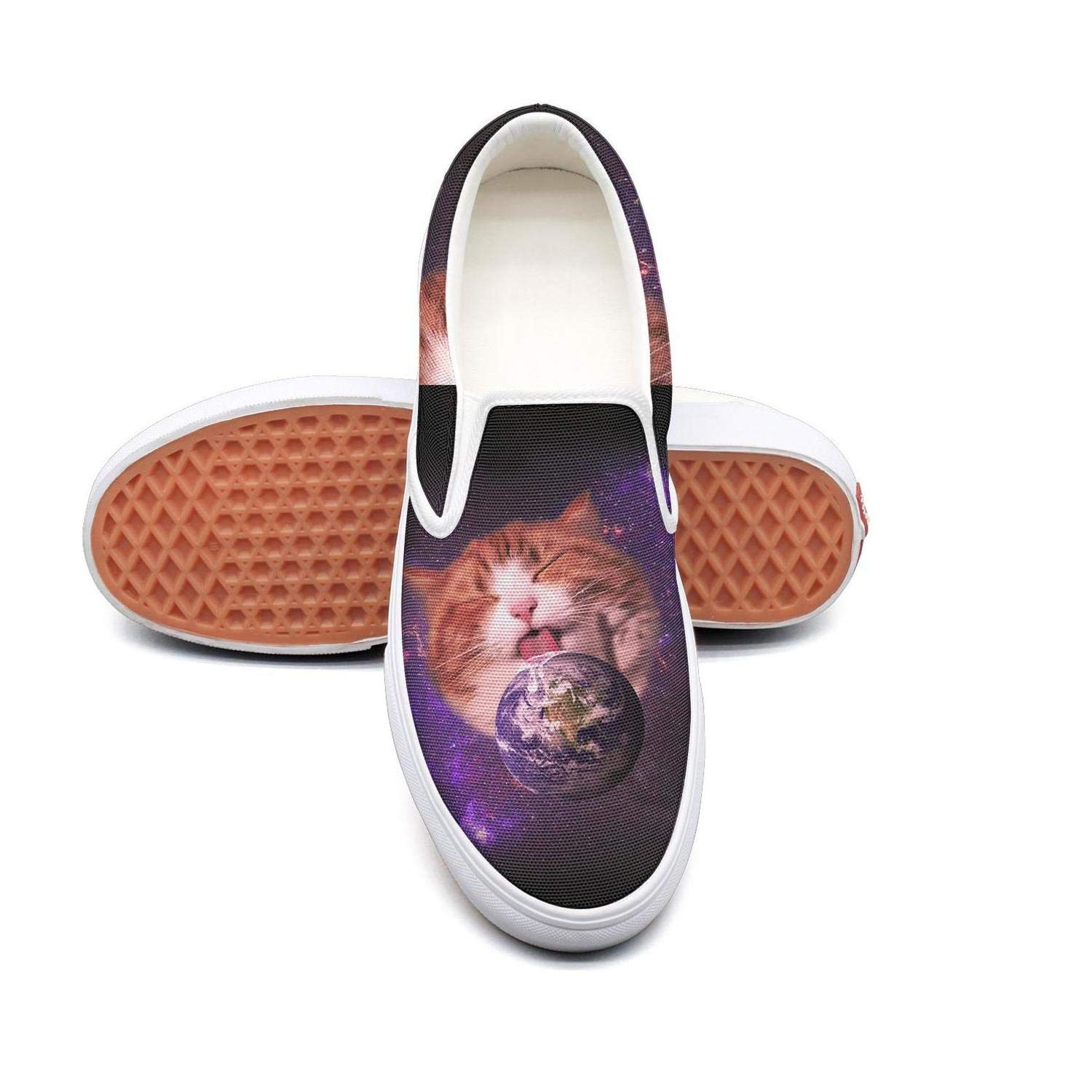 KJGDFS Funny Cats Licking Earth Black Sneaker Shoes Pretty Slip ons for Man