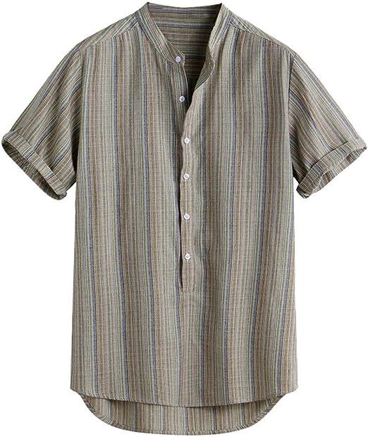 Magiyard - Camiseta de Rayas Hawaiana, Camisa para Hombre, Talla Grande, Informal, Camisas de Manga Corta para Verano Verde Large: Amazon.es: Ropa y accesorios