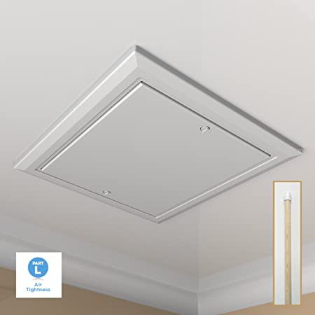 White Loft Trap Door With Opening Pole / Drop In Type / Push Up Hatch Attic