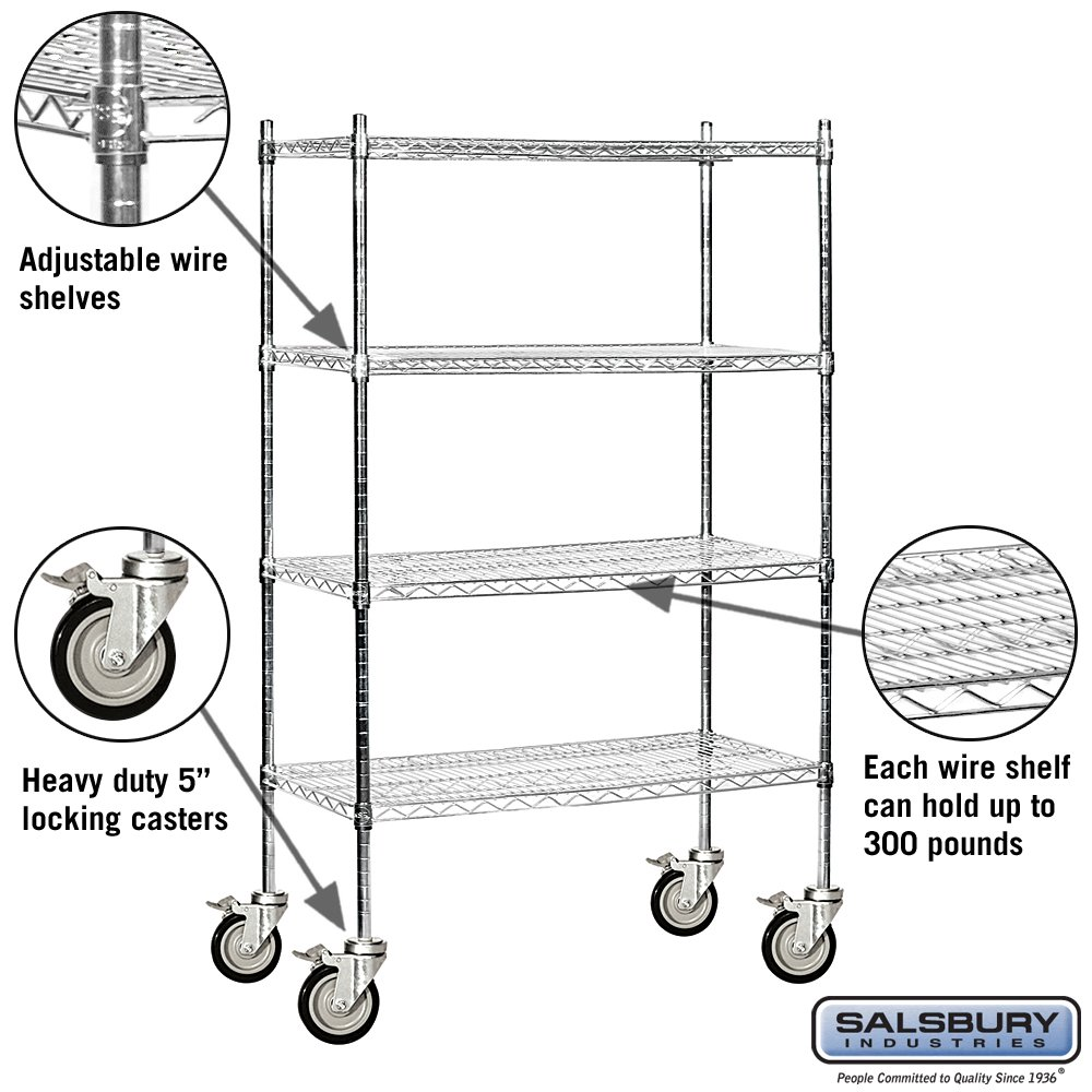 Salsbury Industries Mobile Wire Shelving Unit, 36-Inch Wide by 69-Inch High by 18-Inch Deep, Chrome by Salsbury Industries